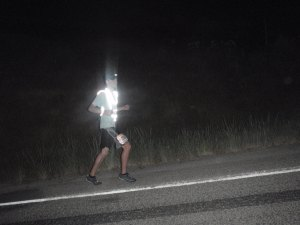 Mitchell running very safely in the dark.
