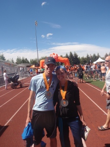 Mitchell and I at the finish line.